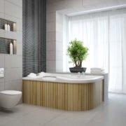 Salle de bain avec baignoire en bois